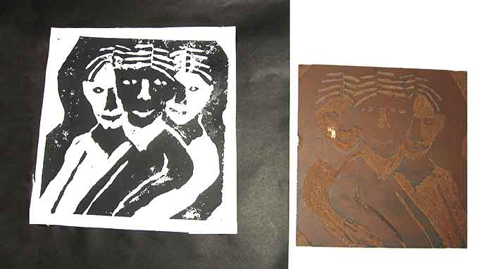 Visual Arts: Portrait Lino Cuts - Sam
