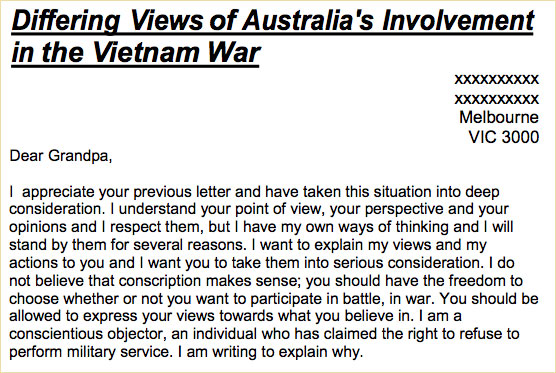 ARC Empathy Task Australia in the Vietnam War era letter to – Empathy Letter Sample