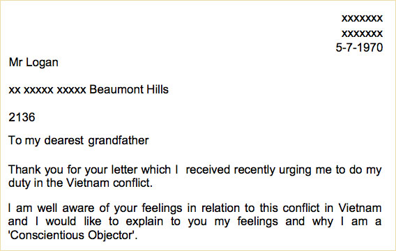 ARC Empathy Task Australia in the Vietnam War era letter to