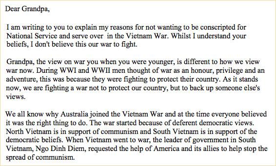 Arc Empathy Task Australia In The Vietnam War Era